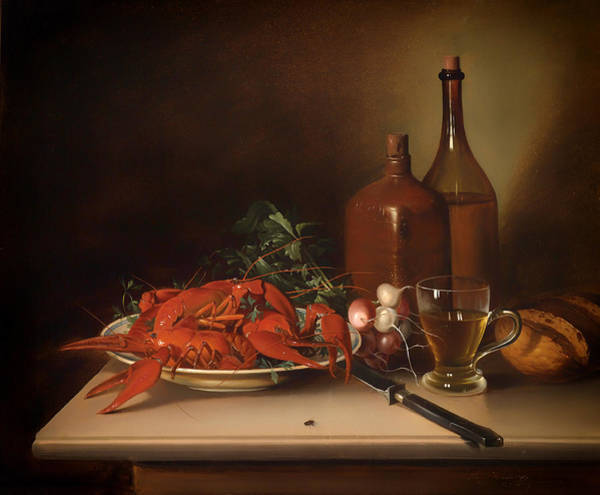 Olive Oil Painting - The Lobster Meal by Mountain Dreams