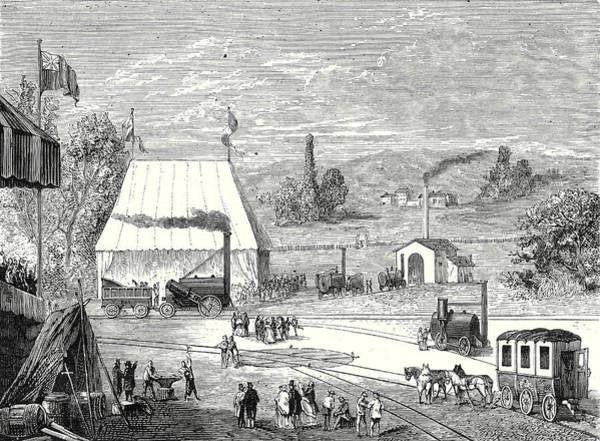 Locomotive Drawing - The Locomotive Contest In Liverpool In October 1829 by English School