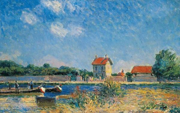 Neighborhood Painting - The Loing Canal At Saint-mammes by Alfred Sisley
