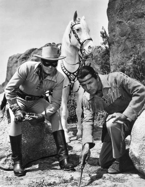 White Horse Wall Art - Photograph - The Lone Ranger And Tonto by Underwood Archives