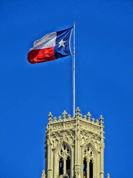 Flying The Flag Wall Art - Photograph - The Lone Star Flag Over The Emily Moran Hotel - San Antonio by Mountain Dreams