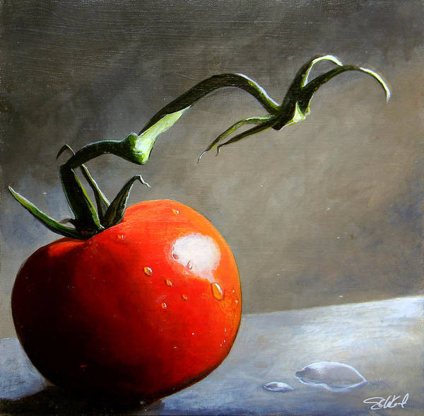 Food Art Painting - The Lone Tomato by Steve Goad