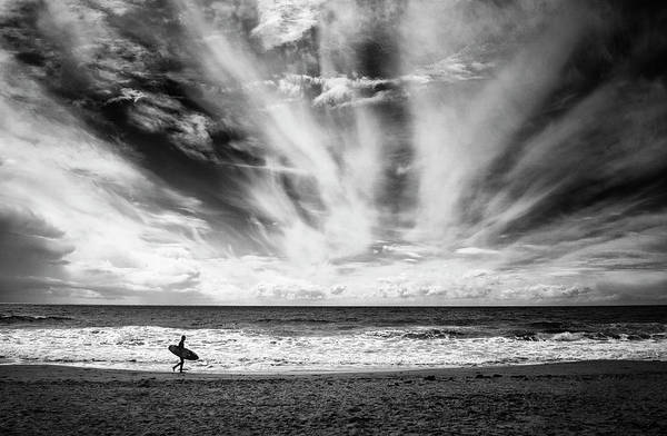 Horizons Photograph - The Loneliness Of A Surfer by Lorenzo Grifantini
