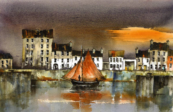 Painting - The Long Walk Sunset Galway Citie by Val Byrne