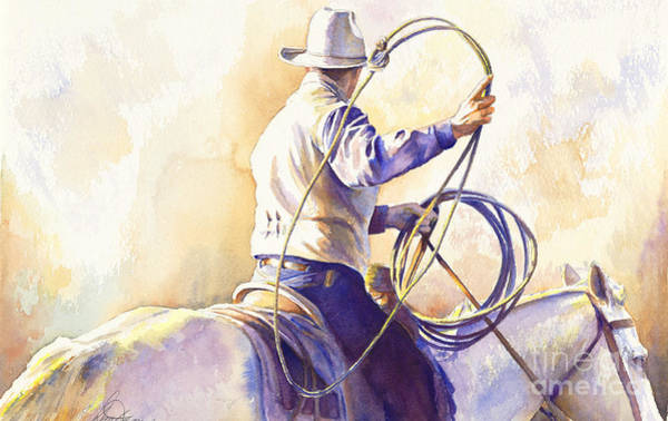 Cowboys Wall Art - Painting - The Loop by Don Dane