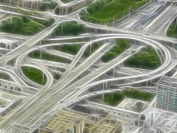 Digital Art - Chicago's Interstate Traffic Loop Frac Filter by Ginger Wakem