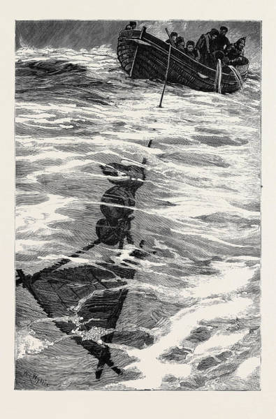 Stormy Drawing - The Loss Of The Jeannette, Lieutenant Danenhowers Boat by English School