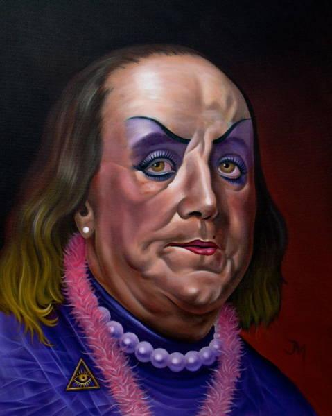 Initiation Painting - The Lost Portrait Of Benjamin Franklin / Initiation by Jordan Mendiola