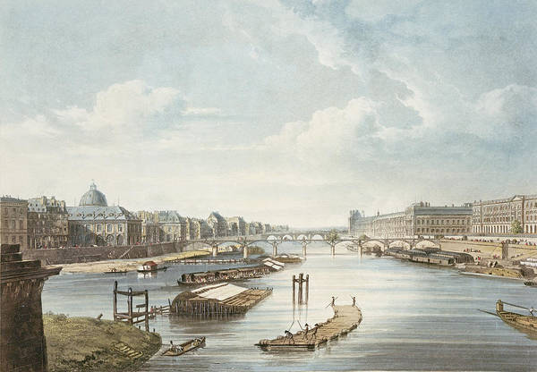 River Drawing - The Louvre, From Views On The Seine by Augustus Charles Pugin