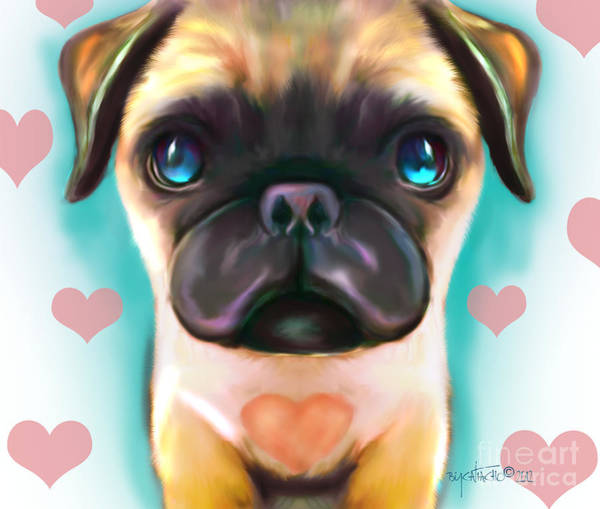 Digital Art - The Love Pug by Catia Lee