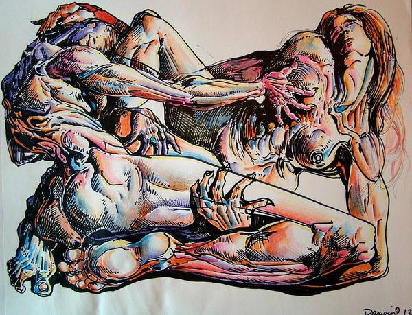 Wall Art - Drawing - The Lovers by Darwin Leon
