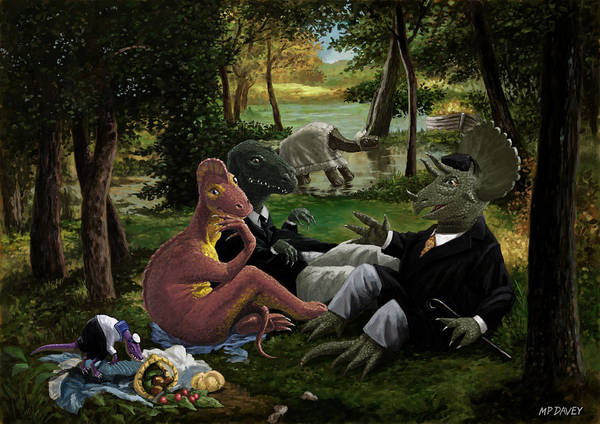 Wall Art - Painting - The Luncheon On The Grass With Dinosaurs by Martin Davey