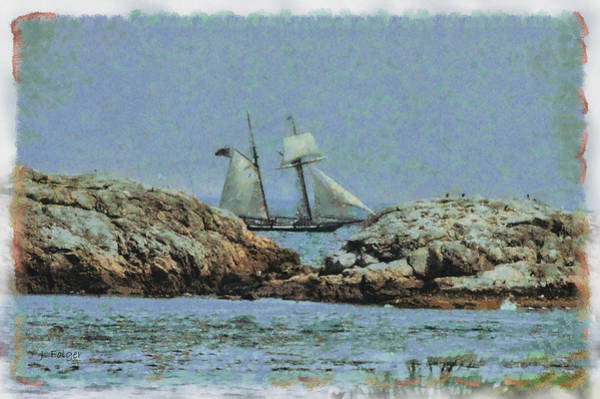 Photograph - The Lynx Seen Past The Dangerous Rocks Off Marblehead Ma. by Jeff Folger