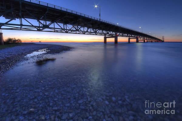 Upper Peninsula Wall Art - Photograph - The Mackinac Bridge At Dusk by Twenty Two North Photography