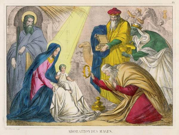 Wall Art - Drawing - The Magi Present The Young  Jesus by Mary Evans Picture Library