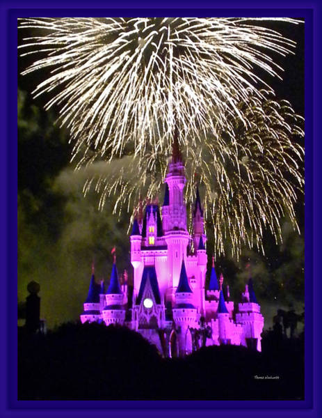 Wall Art - Photograph - The Magic Kingdom Castle In Violet With Fireworks Walt Disney World Fl by Thomas Woolworth