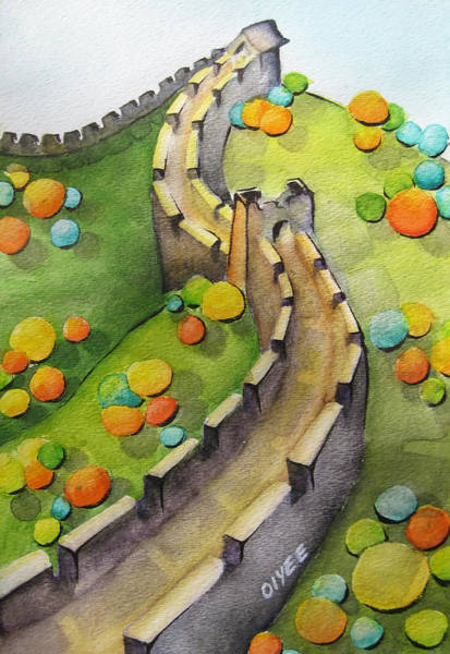 Asian Wall Art - Painting - The Magical Great Wall by Oiyee At Oystudio