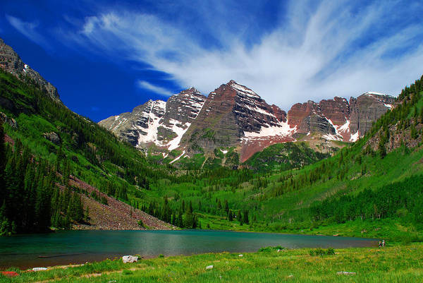 Bell Photograph - The Majestic Maroon Bells With Tiny Tourists by John Hoffman