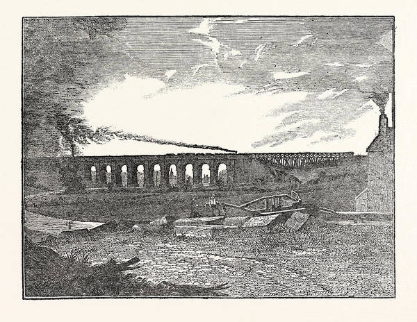 Wall Art - Drawing - The Manchester And Liverpool Railway Sankey Viaduct by English School