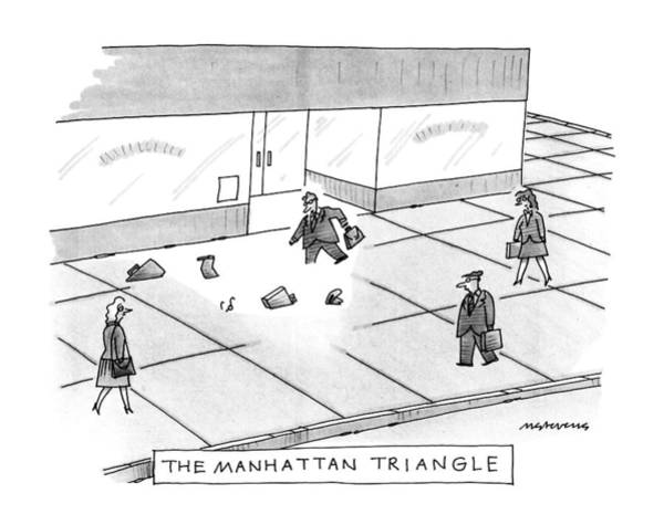 Manhattan Drawing - The Manhattan Triangle by Mick Stevens