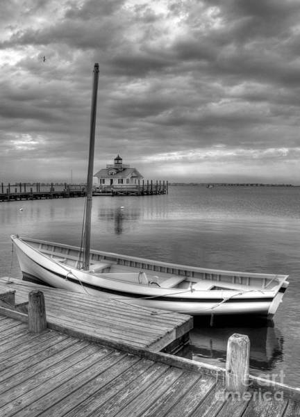 Roanoke Island Wall Art - Photograph - The Manteo Waterfront 2bw by Mel Steinhauer