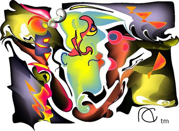 Whirlwind Digital Art - The Many Faces Of Chaos by Andy Cordan