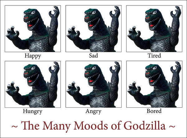 Joke Wall Art - Photograph - The Many Moods Of Godzilla by William Patrick