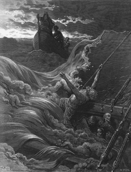 Hermit Wall Art - Drawing - The Mariner As His Ship Is Sinking Sees The Boat With The Hermit And Pilot by Gustave Dore