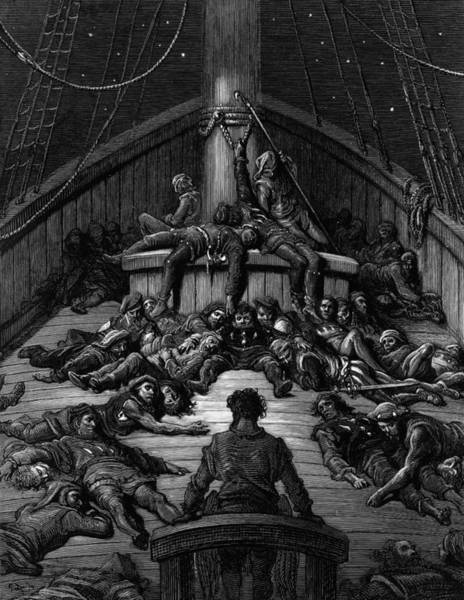 Poetry Drawing - The Mariner Gazes On His Dead Companions And Laments The Curse Of His Survival While All His Fellow  by Gustave Dore