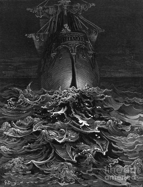 Illustrated Drawing - The Mariner Gazes On The Ocean And Laments His Survival While All His Fellow Sailors Have Died by Gustave Dore