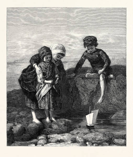 Wall Art - Drawing - The Mariners Children by Duncan, Lawrence (fl.1860-91), British