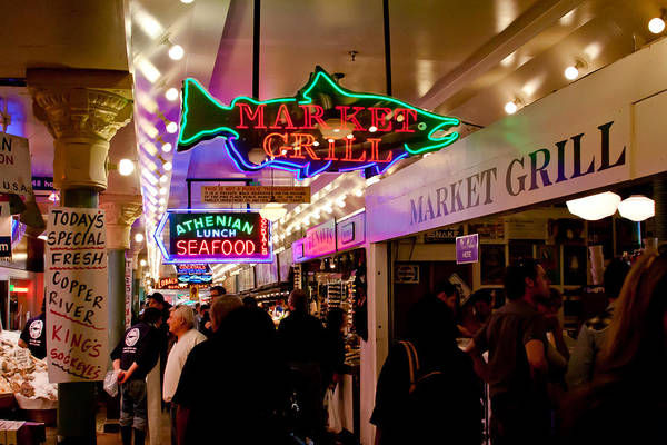 Wall Art - Photograph - The Market Grill - Pike Place Market In Seattle by David Patterson