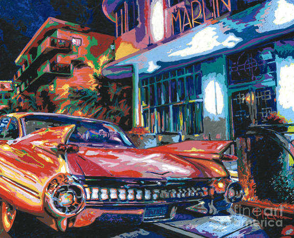 Neon Pink Painting - The Marlin Hotel by Maria Arango