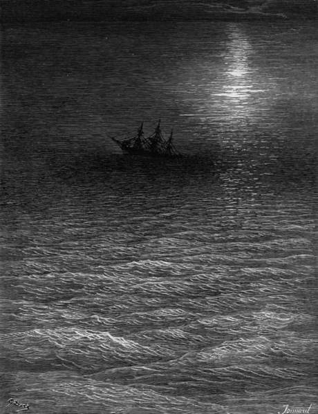 Wall Art - Drawing - The Marooned Ship In A Moonlit Sea by Gustave Dore