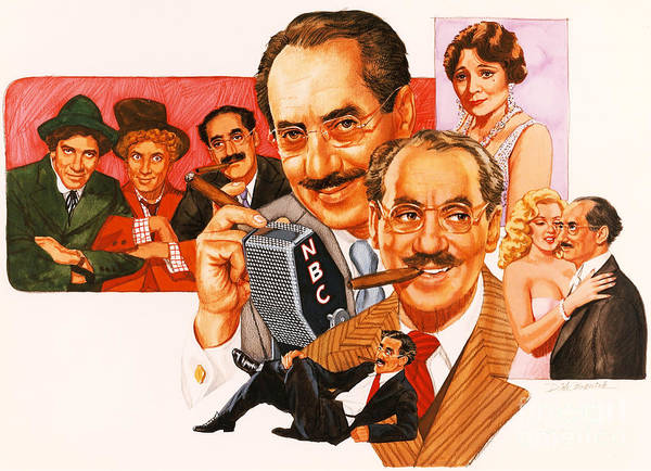 Wall Art - Painting - The Marx Brothers by Dick Bobnick