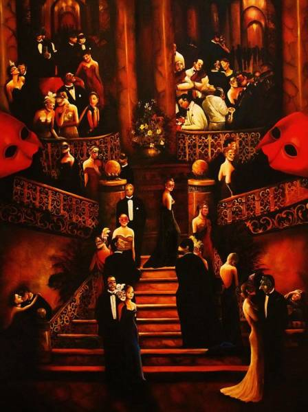 Red Ball Painting -  Masquerade Ball by Dalgis Edelson