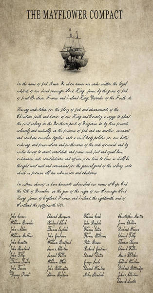 Thanksgiving Digital Art - The Mayflower Compact Aged  1620 by Daniel Hagerman
