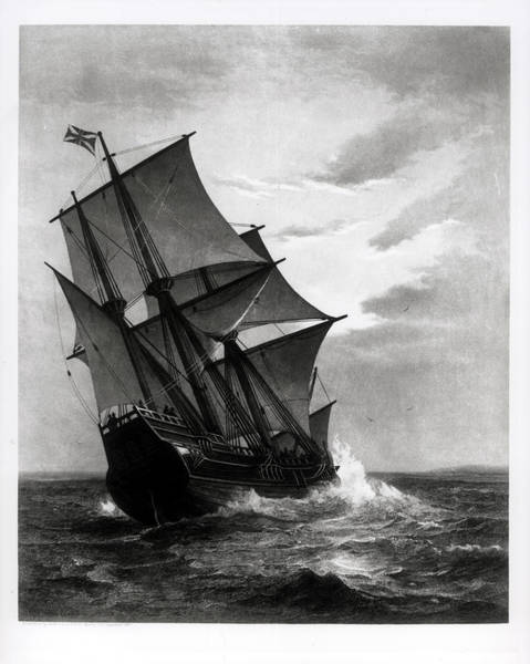 Settlers Photograph - The Mayflower, Engraved And Pub. By John A. Lowell, Boston, 1905 Engraving Bw Photo by Marshall Johnson