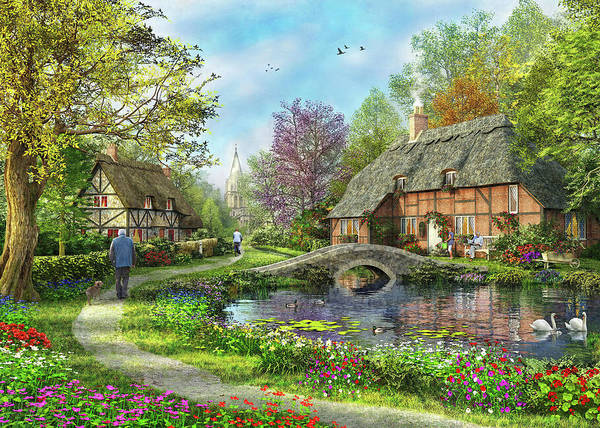 Wall Art - Painting - The Meadow Cottages by MGL Meiklejohn Graphics Licensing