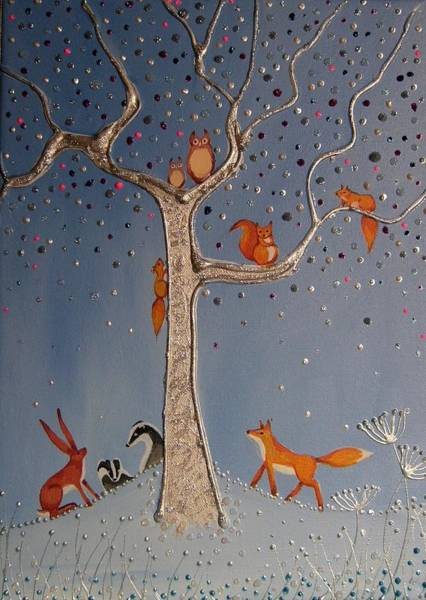 Woodland Animals Mixed Media - The Meeting Place by Angie Livingstone