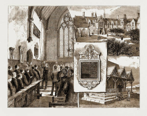 Gill Drawing - The Memorial To The Late Captain Gill At Brighton College by Litz Collection