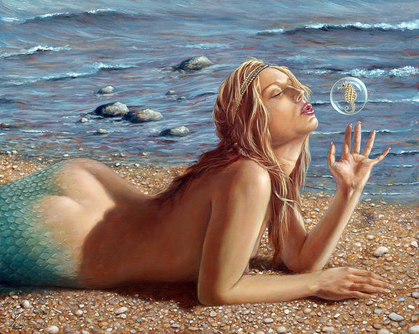 Bubble Wall Art - Painting - The Mermaids Friend by John Silver