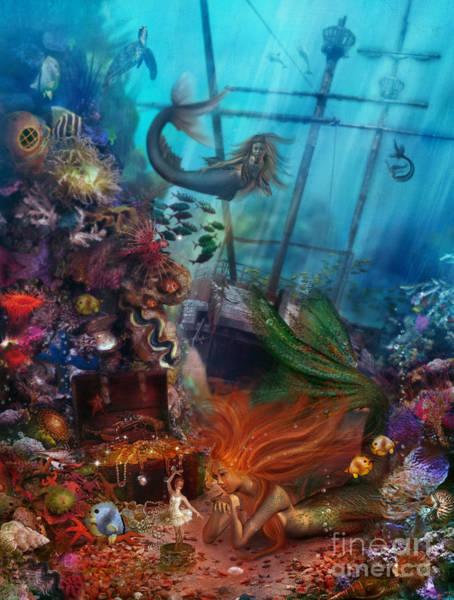 Reef Digital Art - The Mermaids Treasure by MGL Meiklejohn Graphics Licensing