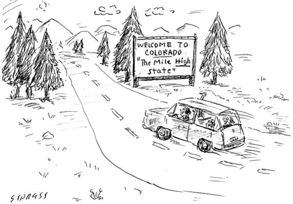 Marijuana Drawing - The Mile High State by David Sipress