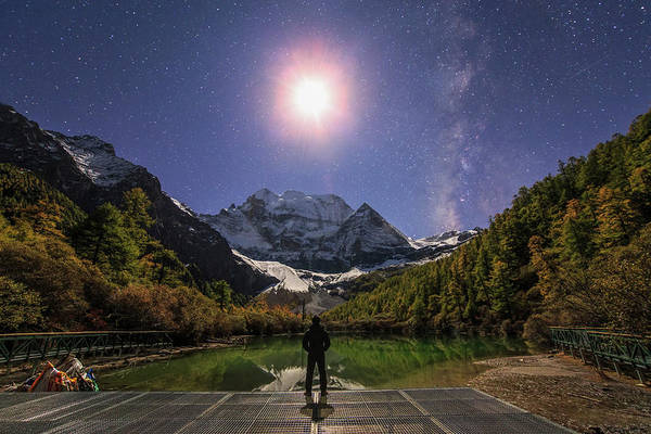 Wall Art - Photograph - The Milky Way And Waxing Cresent Moon by Jeff Dai