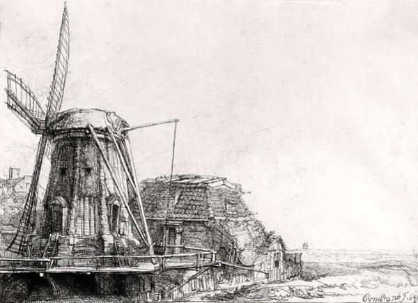 Wall Art - Photograph - The Mill, 1641 Engraving Bw Photo by Rembrandt Harmensz. van Rijn