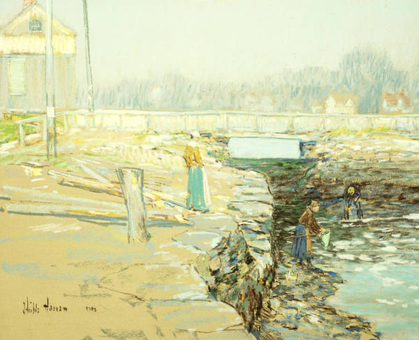 Pastel Drawing Painting - The Mill Dam Cos Cob by Childe Hassam