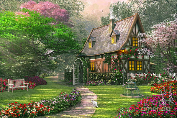 Blooms Digital Art - The Misty Lane Cottage by MGL Meiklejohn Graphics Licensing