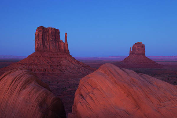 The Mitten Photograph - The Mittens At Dusk, Monument Valley by Jeff Hunter