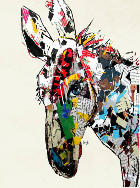 Mixed Media Collage Wall Art - Painting - The Mod Donkey by Bri Buckley